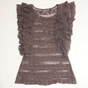 Anthropologie Knitted & Knotted Ruffle Top